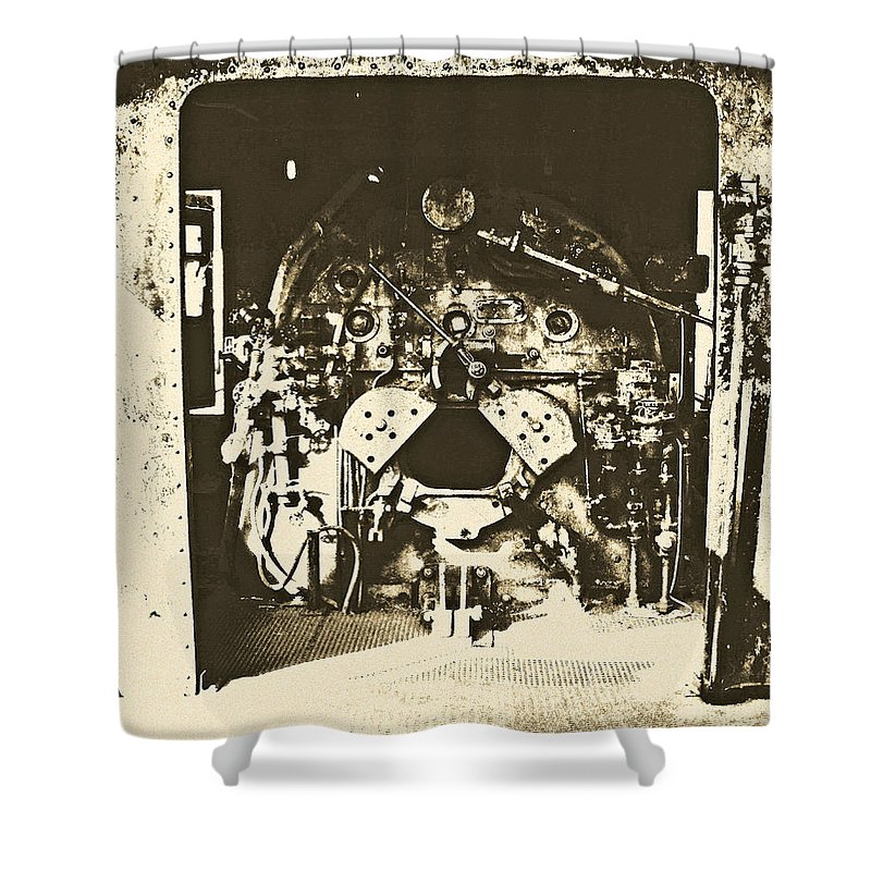 Train Shower Curtain featuring the photograph Engine Iron by Kyle Llewellyn