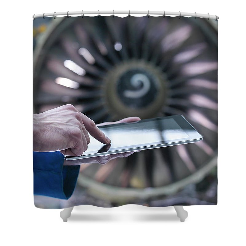 Focus Shower Curtain featuring the photograph Engineer Using Digital Tablet In Front by Monty Rakusen