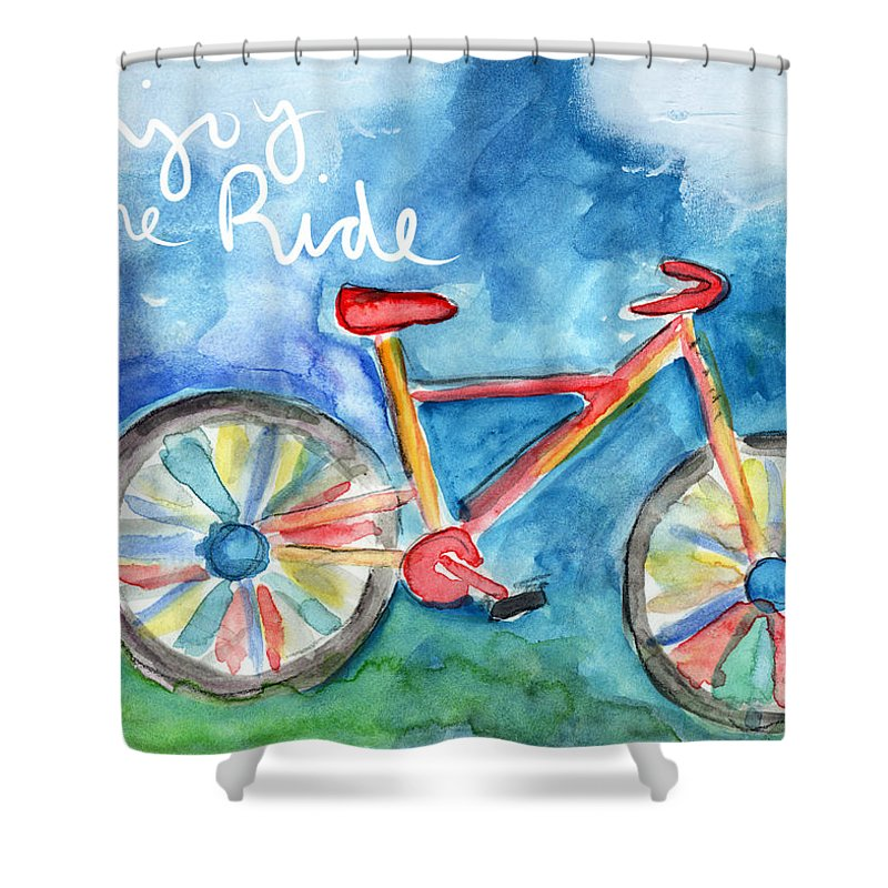 Enjoy The Ride Colorful Bike Painting Shower Curtain For Sale By Linda Woods