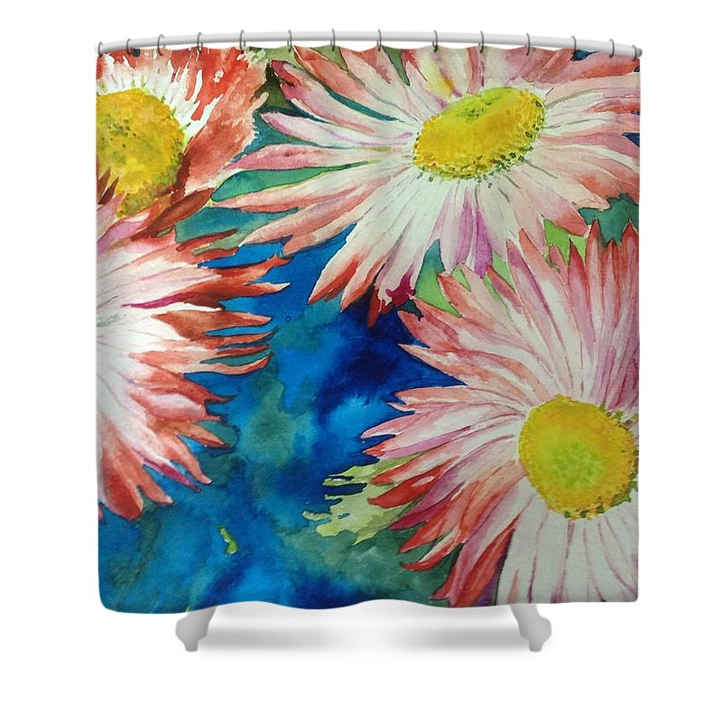 Flowers Shower Curtain featuring the painting Enjoying The Sun by Kathy Sievering