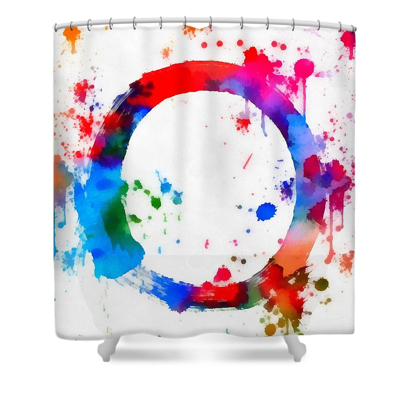 Enso Circle Paint Splatter Shower Curtain featuring the painting Enso Circle Paint Splatter by Dan Sproul