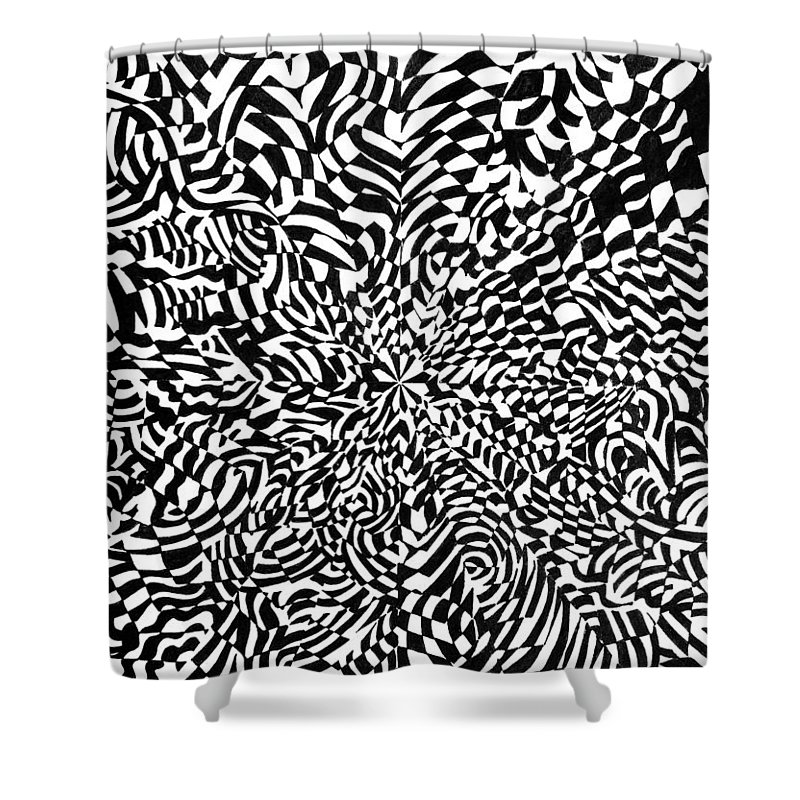 Abstract Shower Curtain featuring the drawing Entangle by Crystal Hubbard
