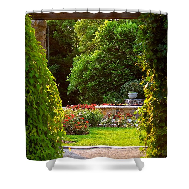 Garden Shower Curtain featuring the photograph Enter Into My Garden by Debbie Nobile
