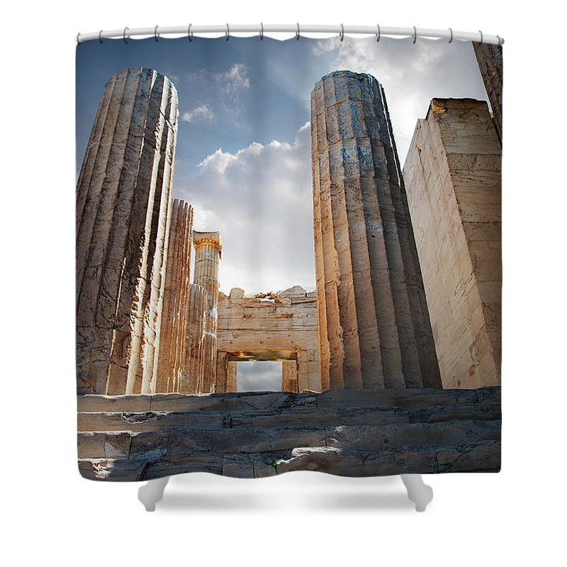 Tranquility Shower Curtain featuring the photograph Entryway Into The Acropolis by Ed Freeman