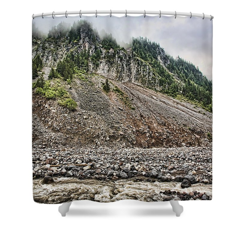 Mount Rainier Shower Curtain featuring the photograph Eons Of Change by Karen Ulvestad