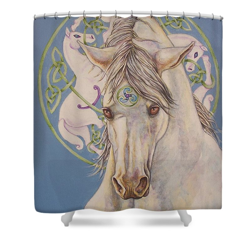 Celtic Shower Curtain featuring the painting Epona The Great Mare by Beth Clark-McDonal