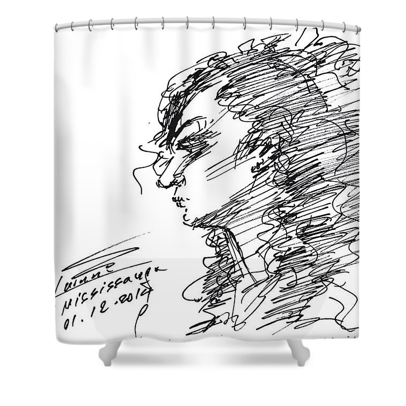 Sketch Shower Curtain featuring the drawing Erbi by Ylli Haruni