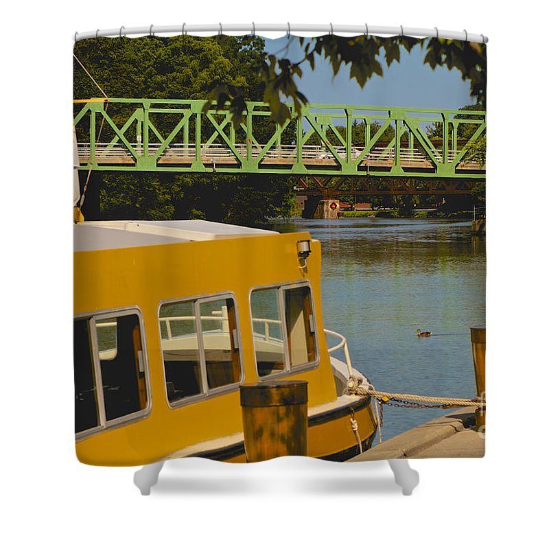 Erie Canal Shower Curtain featuring the photograph Erie Canal At Pittsford Ny by William Norton