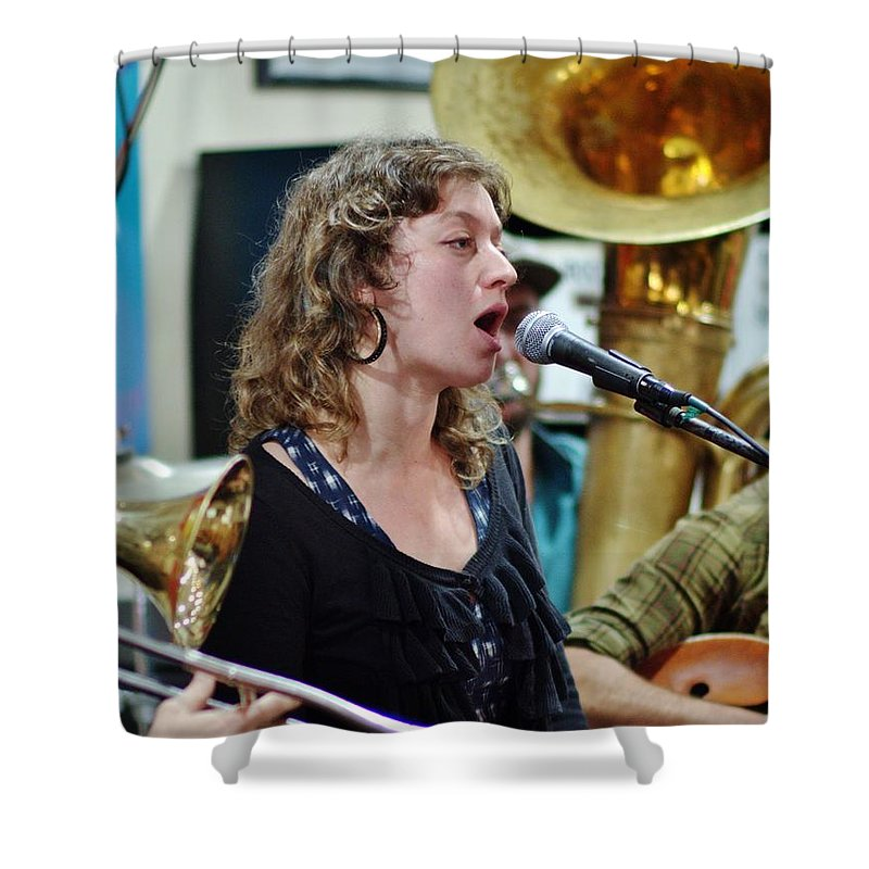Jazz Shower Curtain Featuring The Photograph Erika Lewis With Tuba Skinny By William Morgan