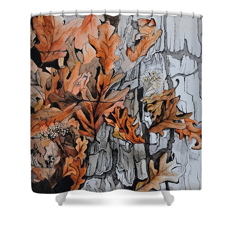 Abstract Shower Curtain featuring the painting Eruption I by Rachel Christine Nowicki