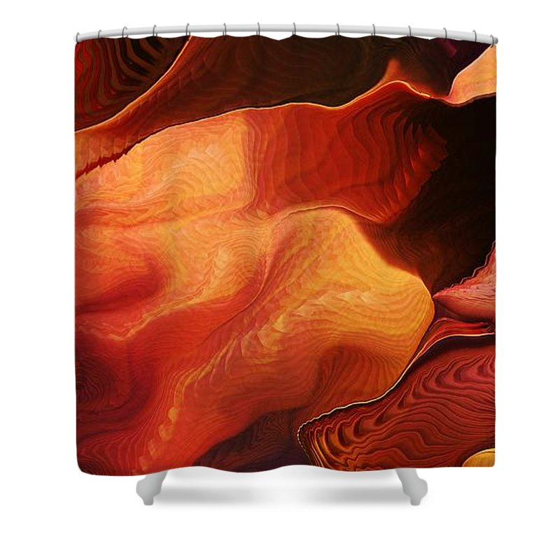 Abstract Shower Curtain featuring the digital art Escalante by Richard Kelly