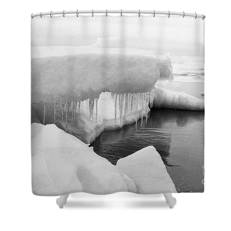 Boys Shower Curtain featuring the photograph Eskimo Boys Ice Fishing Barrow Alaska July 1969 by California Views Archives Mr Pat Hathaway Archives
