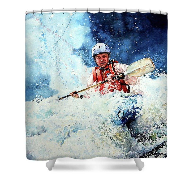 Kayak Shower Curtain featuring the painting Eskimo Rolls by Hanne Lore Koehler