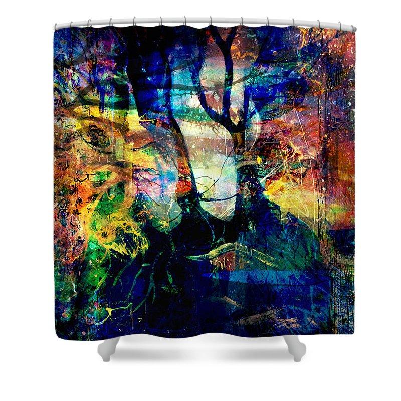 Fania Simon Shower Curtain featuring the mixed media Espionnage by Fania Simon