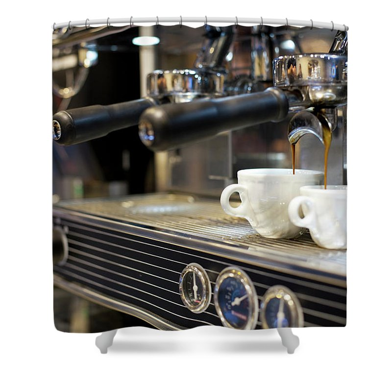 Making Shower Curtain featuring the photograph Espresso Machine Pouring Coffee Into by Kathrin Ziegler