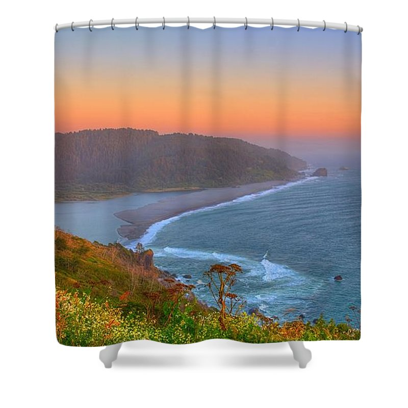 Klamath Shower Curtain featuring the photograph Ethereal Sunset by James Anderson