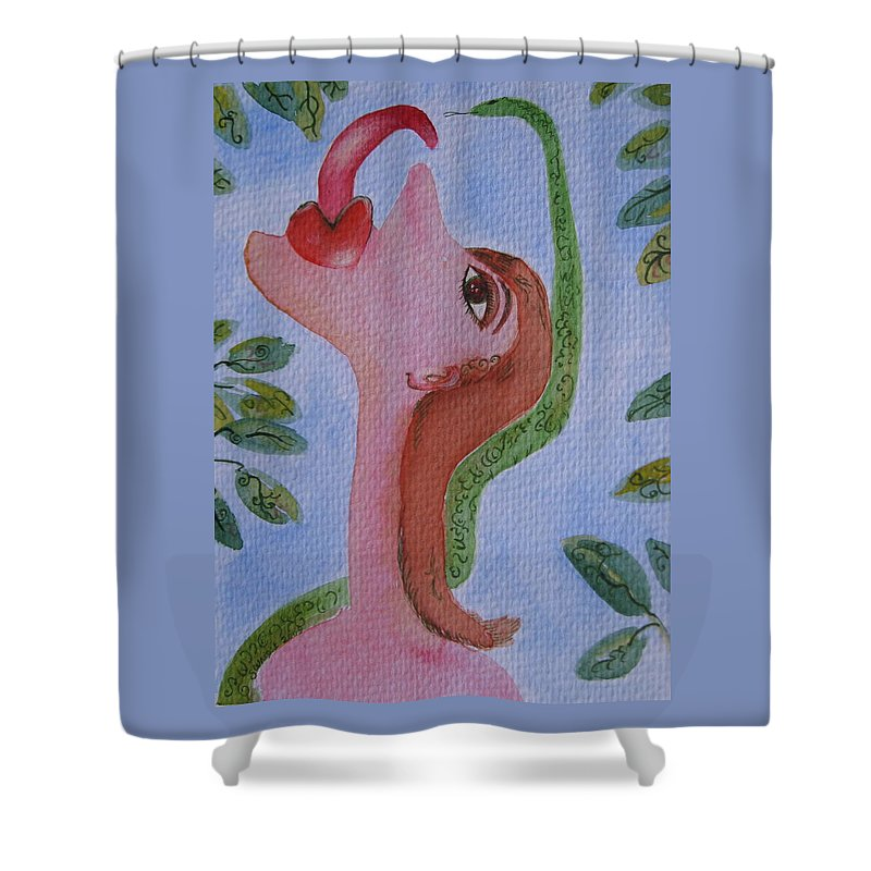 Eve Shower Curtain featuring the painting Eve And The Snake by Sue Wright