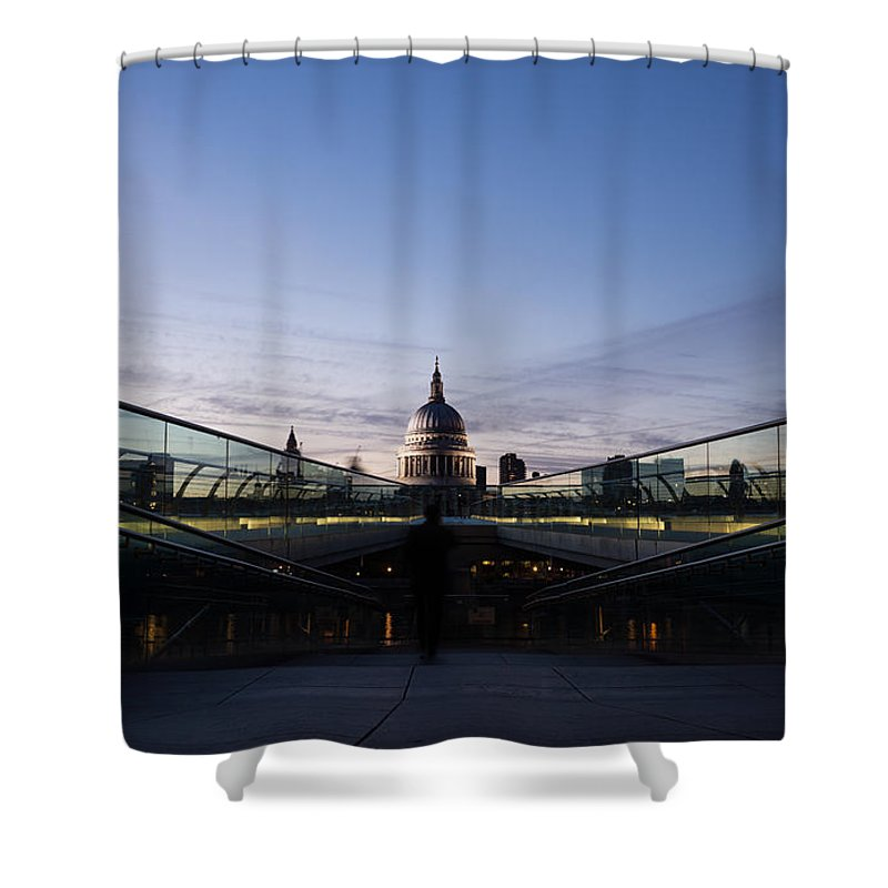 St Paul's Cathedral Shower Curtain featuring the photograph Even The Clouds Aligned With St Paul's Cathedral And The Millennium Bridge - London by Georgia Mizuleva