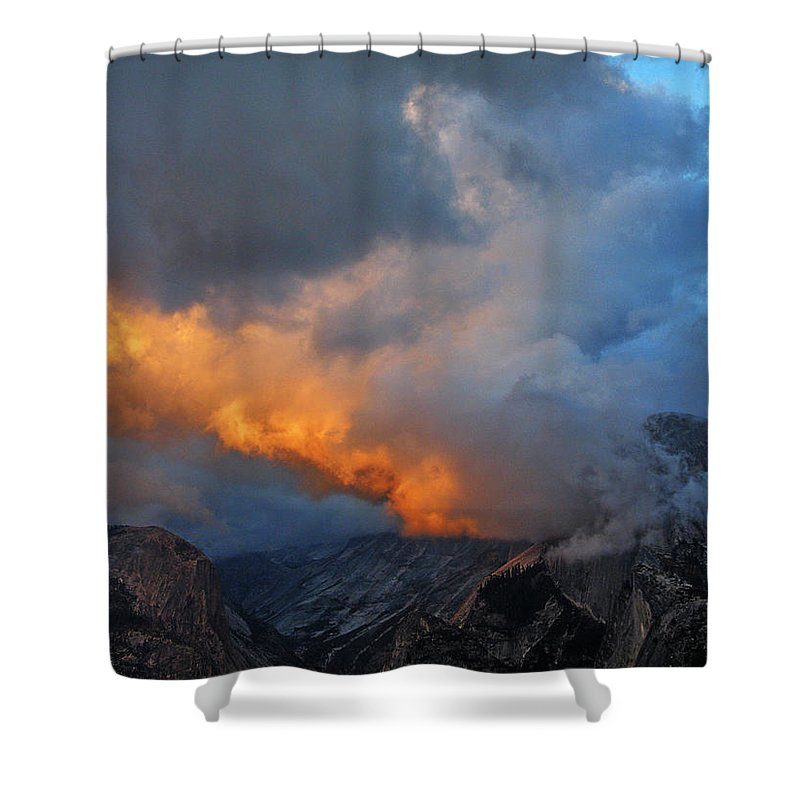 Half Dome Shower Curtain featuring the photograph Evening Clouds And Half Dome At Yosemite by Greg Matchick