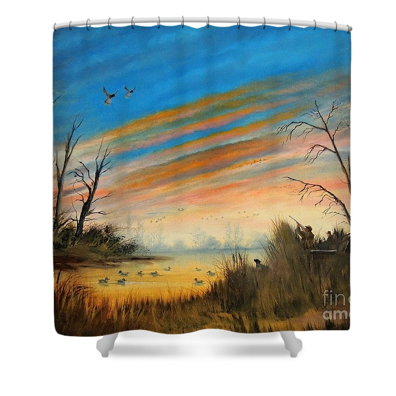 Duck Hunting Shower Curtain Featuring The Painting Evening Hunt By Bill Holkham