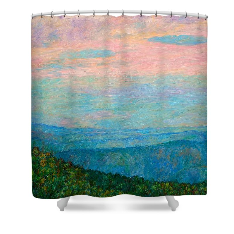 Mountain Shower Curtain featuring the painting Evening Glow At Rock Castle Gorge by Kendall Kessler