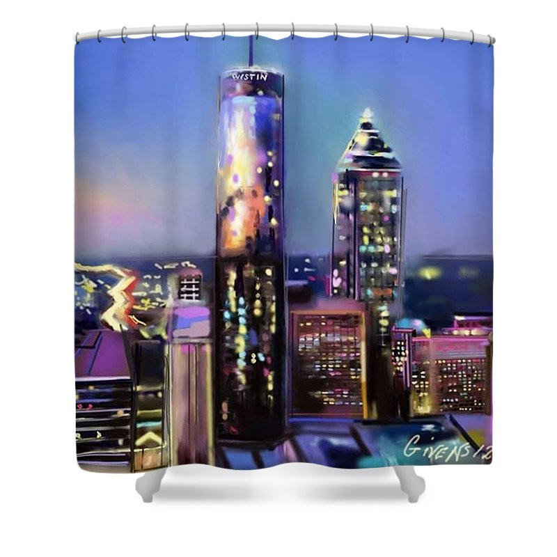 Shower Curtain featuring the painting Evening In Atlanta Edge Side by Mark Givens