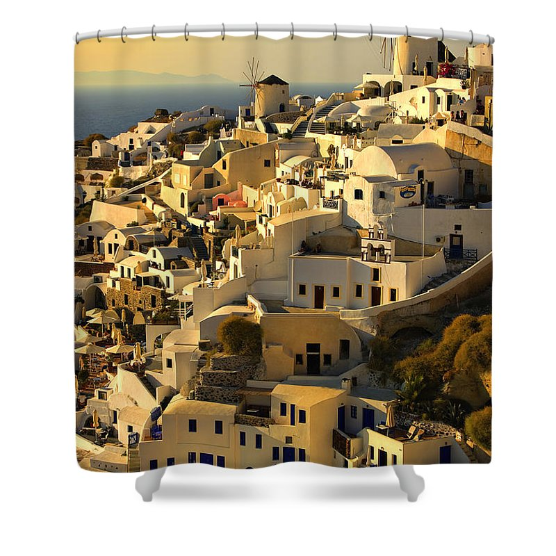 Oia Shower Curtain featuring the photograph evening in Oia by Meirion Matthias