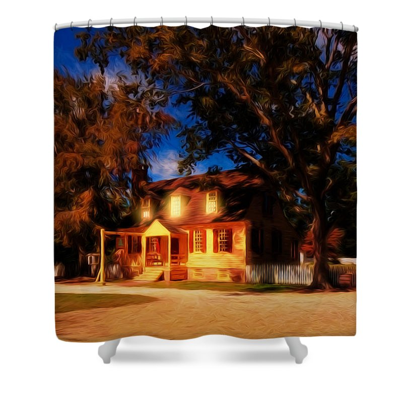 Architecture Shower Curtain featuring the photograph Evening In Small Town U. S. A. by John M Bailey