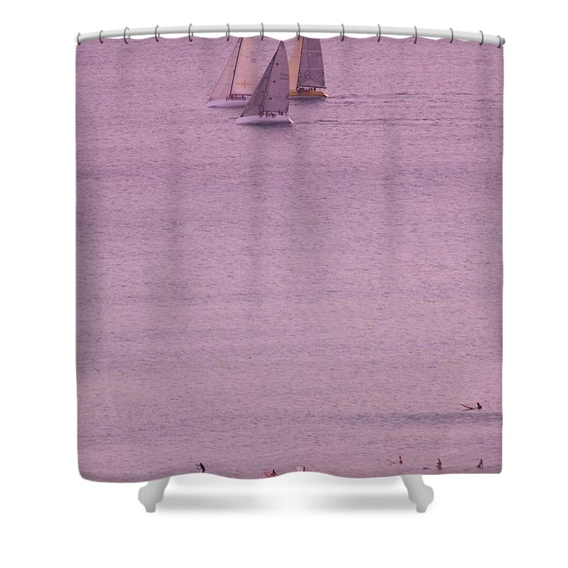 Sailing Shower Curtain featuring the photograph Evening Pink by Mary Deal