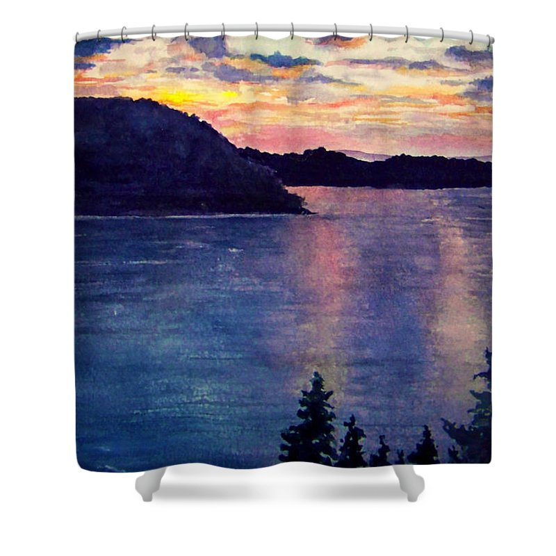Sunset Shower Curtain featuring the painting Evening Song by Brenda Owen