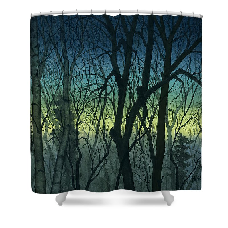 Blue Shower Curtain featuring the painting Evening Stand by Mary Tuomi