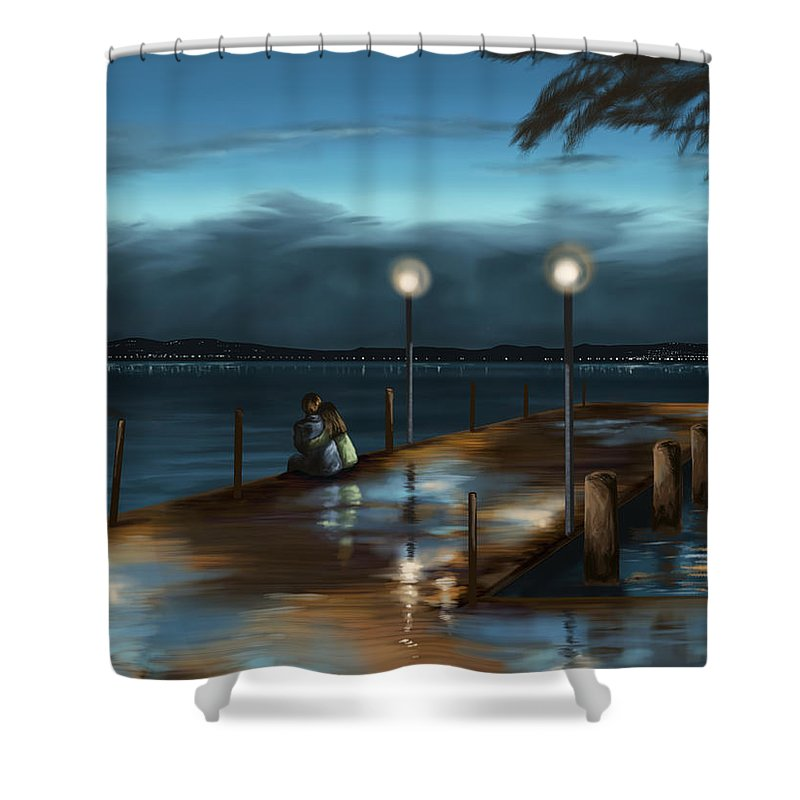 Rain Shower Curtain featuring the painting Evening by Veronica Minozzi