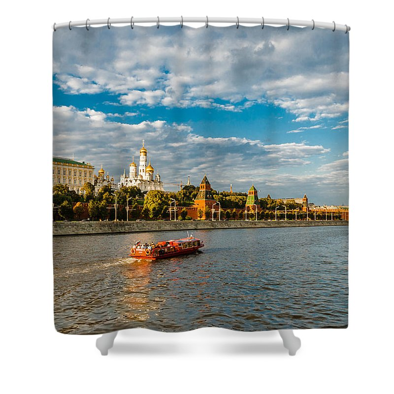 Moscow Shower Curtain featuring the photograph Evening Voyage by Alexander Senin