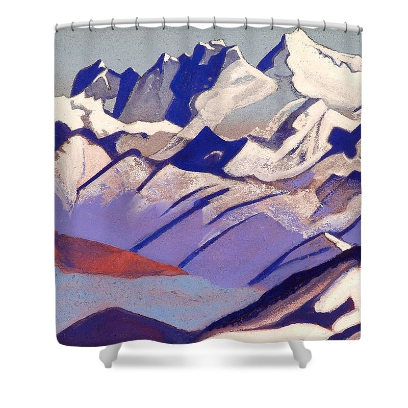 1936 Shower Curtain featuring the painting Everest by Nicholas Roerich