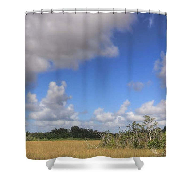 Beautiful Shower Curtain featuring the photograph Everglades Landscape Panorama by Rudy Umans