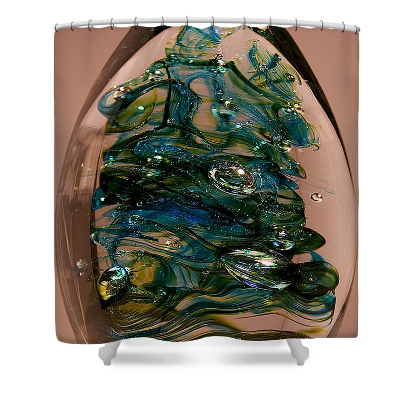 Glass Shower Curtain featuring the sculpture Evergreen by David Patterson