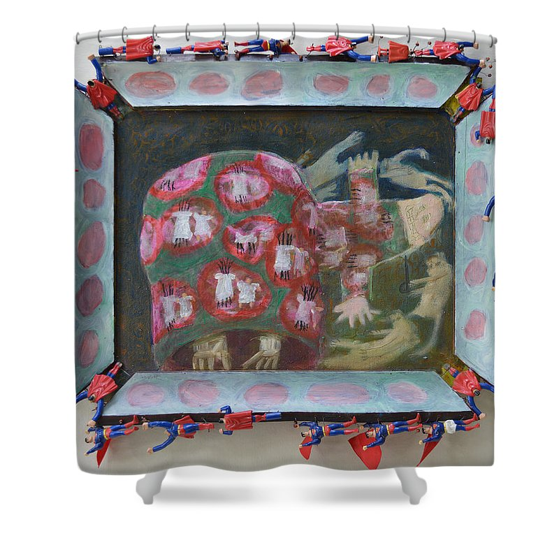 Abstract Modern Outsider Raw Woman Figure Red Dance Dancing Dress Backside Children Hand Holding Circle Folk Shower Curtain featuring the painting Everything Here Owes Its Life To A Gopher - Framed by Nancy Mauerman