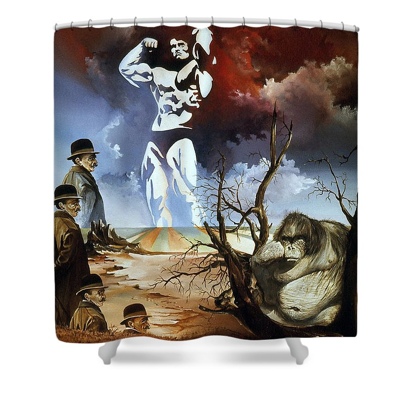 Surrealism Shower Curtain featuring the painting Evolution by Otto Rapp