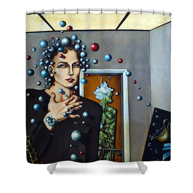 Surreal Shower Curtain featuring the painting Existential Thought by Valerie Vescovi