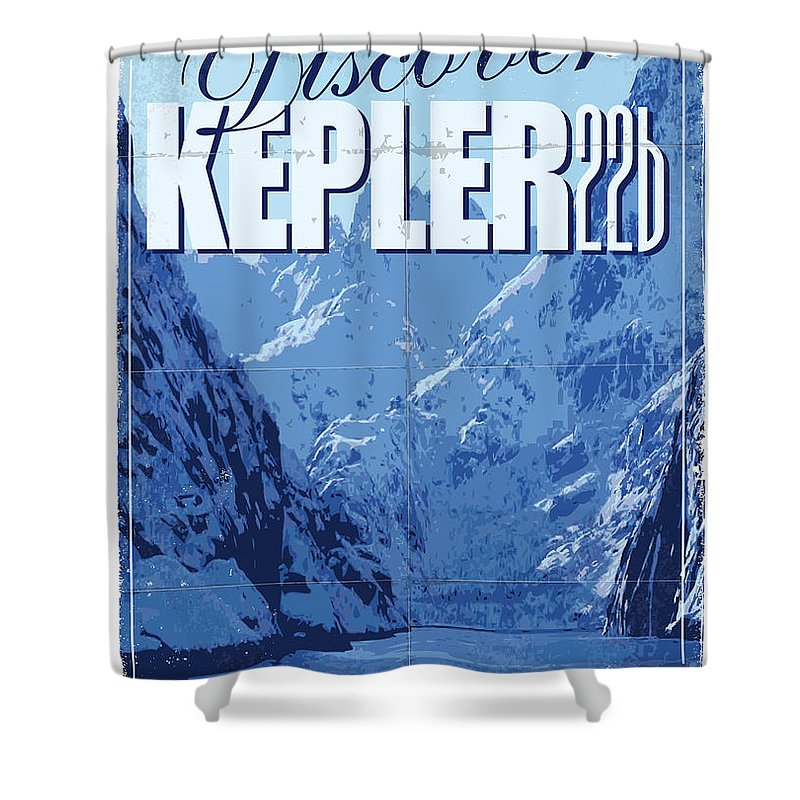 Space Shower Curtain featuring the digital art Exoplanet 02 Travel Poster Kepler 22b by Chungkong Art
