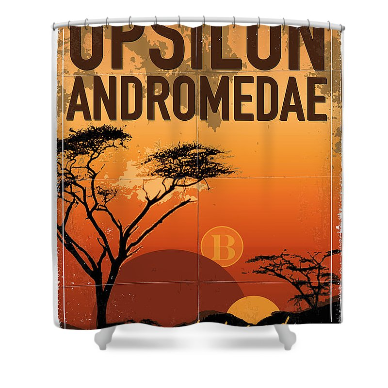 Space Shower Curtain featuring the digital art Exoplanet 06 Travel Poster Upsilon Andromedae 4 by Chungkong Art