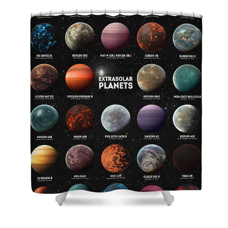 Exoplanets Shower Curtain featuring the digital art Exoplanets by Zapista Zapista