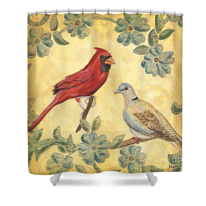 Birds Shower Curtain Featuring The Painting Exotic Bird Floral And Vine 2 By Debbie DeWitt