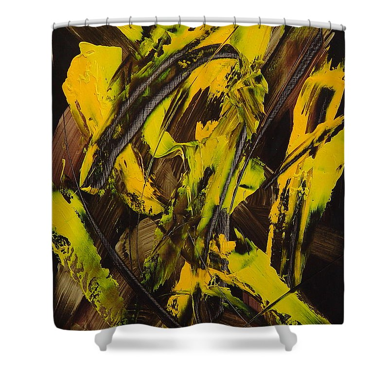 Abstract Shower Curtain featuring the painting Expectations Yellow by Dean Triolo