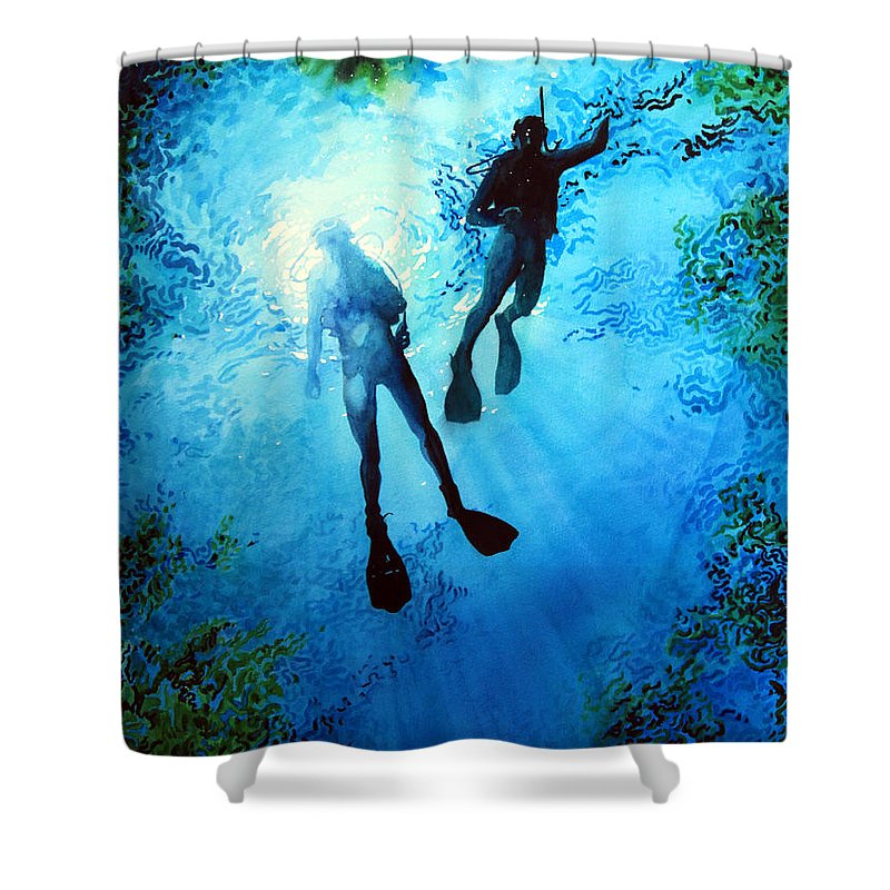 Sports Artist Shower Curtain featuring the painting Exploring New Worlds by Hanne Lore Koehler