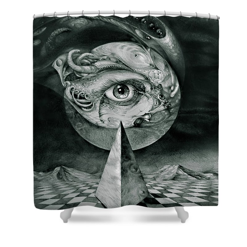 otto Rapp Surrealism Shower Curtain featuring the drawing Eye Of The Dark Star by Otto Rapp