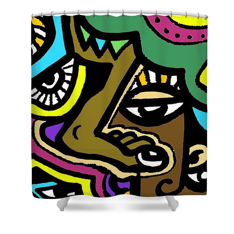 Eyeart Shower Curtain featuring the digital art Eye Run This by Kamoni Khem