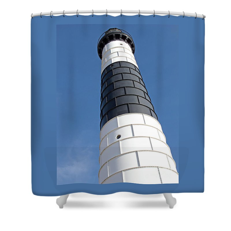 Lighthouse Shower Curtain featuring the photograph Eying Big Sable by Ann Horn