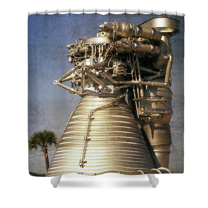 Grunge Shower Curtain featuring the mixed media F-1 Rocket Engine by Richard Rizzo