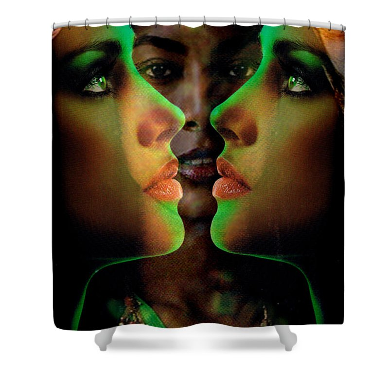 Women Shower Curtain featuring the digital art Face 2 Face by Seth Weaver